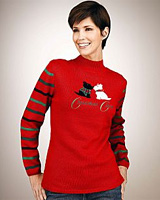 Merry & Bright Petites Scottie Dogs Appliqued Sweater