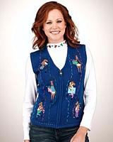 Merry & Bright Appliqued Reindeer Sweater Vest & Presents Mockneck Top