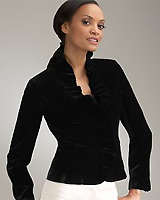 Velvet Ruffle Collar Jacket