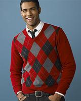 Cashmere Sudbury Argyle V-neck Sweater
