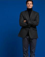 Black Flannel Pinstripe Blazer & Slim Straight Premium Jean