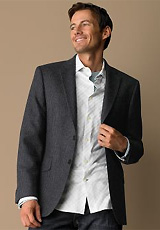 Wool Gray Chalk-Stripe Blazer