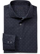 Slim Fit Barrel Cuff Double-Geo Dot Shirt