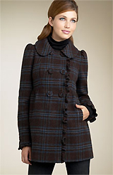 Juicy Couture Plaid Wool Coat with Ruffle Detail