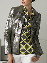 Tory Burch Washed Metallic Leather Jacket