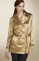 DKNY Belted Metallic Satin Trench Coat