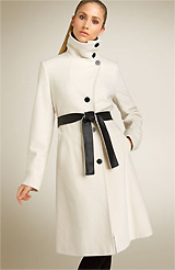 DKNY Long Asymmetrical Wool Blend Coat