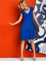 Short-Sleeve Pleated V-Neck Dress