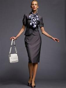 BR Monogram Short-sleeve Suit Jacket & Gray Pencil Skirt