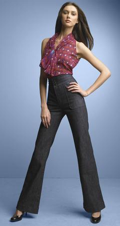 High-waisted, wide-legged jeans