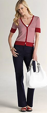 Elbow Sleeve Striped V-Neck Cardigan