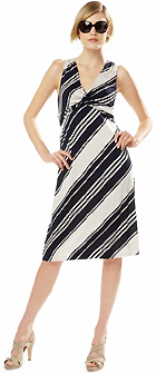 Silk Striped Knot Dress