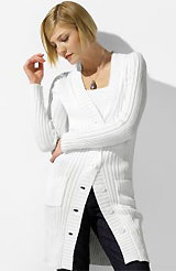 Petite Cotton Long Ribbed Cardigan