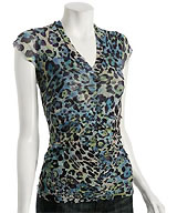 Sweet Pea Blue Animal Print Mesh Ruched V-neck Top