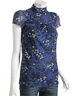 Sweet Pea Blue Mesh Knit Floral Mock-Neck Tunic