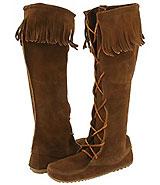 Minnetonka Front Lace Hardsole Knee Hi Boot