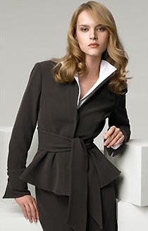 Armani Collezioni Stretch Twill Jacket with Tie