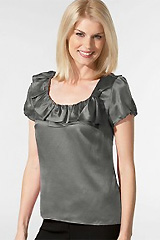 Hammered Satin Ruffle Collar Top