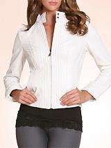 Leather Pintuck Jacket