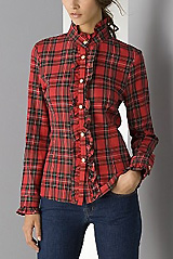 Aqua Women's Long Sleeve Plaid Ruffle Shirt