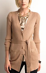 Petite Ribbed Belted Cardigan