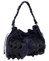 Susan Farber Collections 'Hastings' Zip Ruffle Hobo