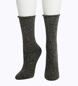 Tweed Roll Top Boot Sock