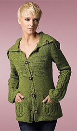 Lauren Hansen Women's Chunky Crochet and Cabled Cardigan
