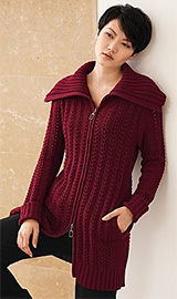Sydney Easton Women's Chunky Open-Stitch Long Cardigan