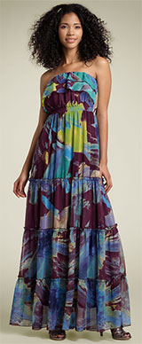 Fire Watercolor Floral Maxi Dress