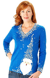 Berek Holly Jolly Santa V-neck Sweater