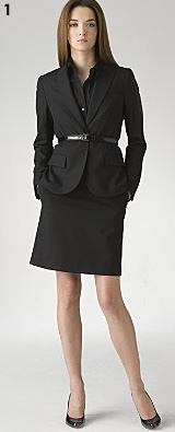 Theory Women's One Button Jacket, Button Front Shirt, and Tailor Pencil Skirt