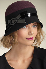 Wool Cloche with Patent Band