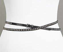 Streets Ahead Women's Studded Double Wrap Leather Belt
