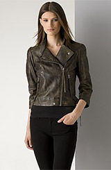 Joseph Israel Women's Distressed Leather Moto Jacket
