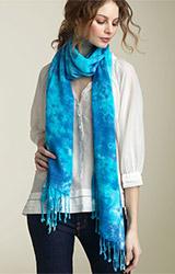 Cejon Tie Dye Scarf with Twisted Fringe