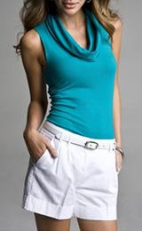 Sexy Stretch Sleeveless Cowl-Neck Top