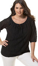 Black Lace Peasant Top